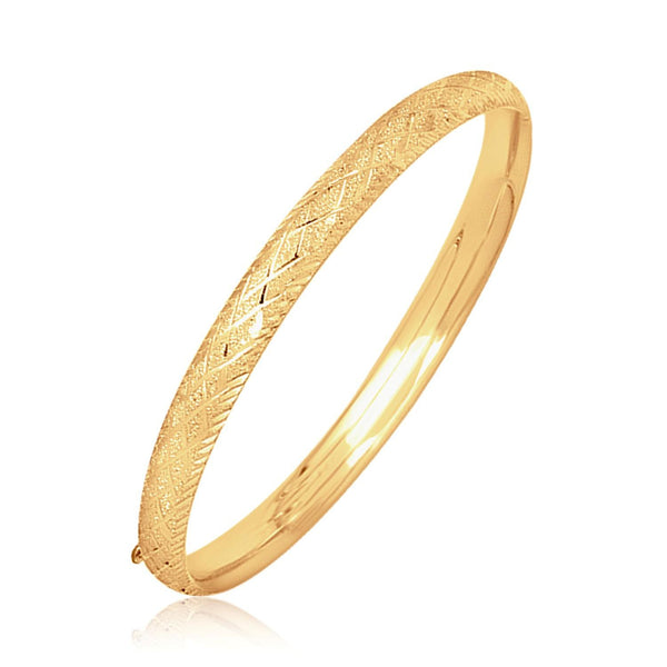 14K Yellow Gold Diamond Carved Bangle (6.0 mm)