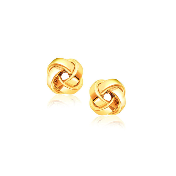 14K Yellow Gold Classic Love Knot Stud Earrings