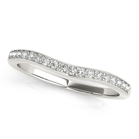 14k White Gold Channel Curved Diamond Wedding Band (1/4 cttw)