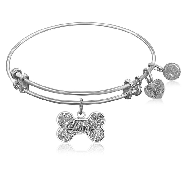 Expandable Bangle in White Tone Brass with Dog Bone Symbol