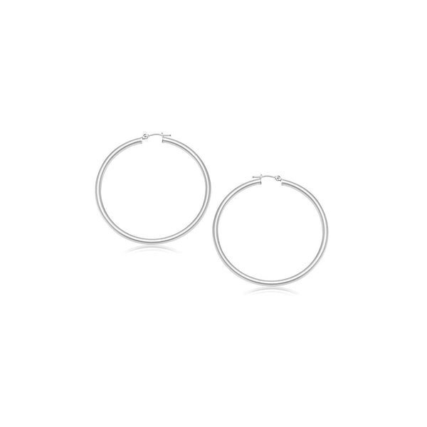 14K White Gold Polished Hoop Earrings (15 mm)
