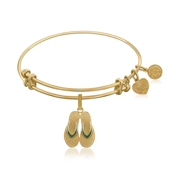 Expandable Bangle in Yellow Tone Brass with Enamel Flip Flop Charm Symbol