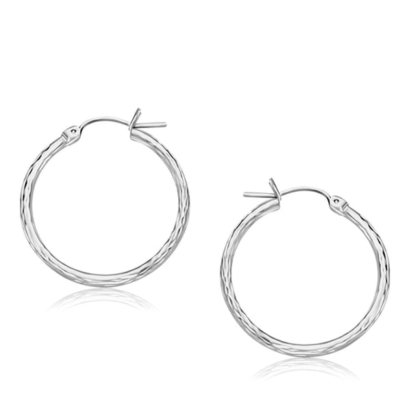 14K White Gold Diamond Cut Hoop Earrings  (25mm Diameter)