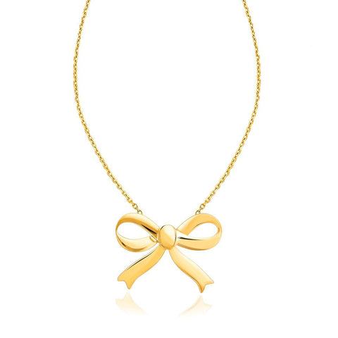 14K Yellow Gold Bow Necklace