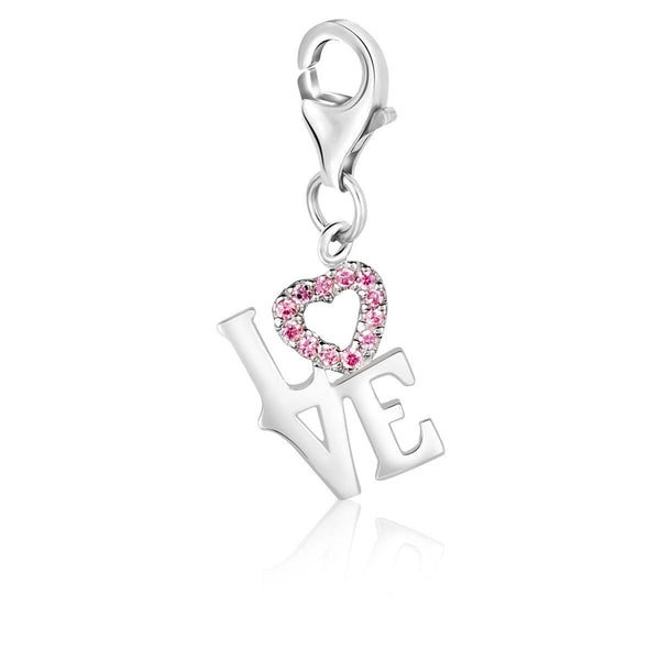 Sterling Silver Pink Tone Crystal Embellished LOVE Charm