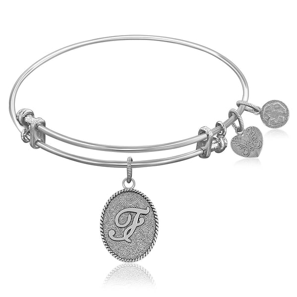 Expandable Bangle in White Tone Brass with Initial F Symbol