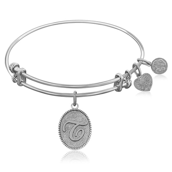 Expandable Bangle in White Tone Brass with Initial T Symbol