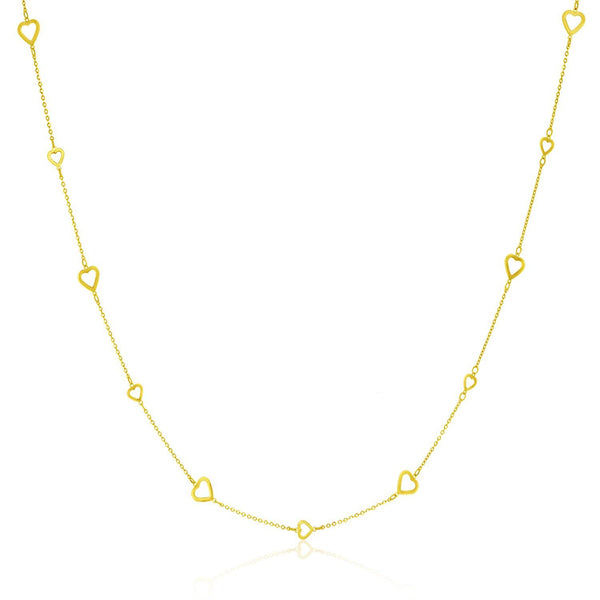 14K Yellow Gold Chain Necklace with Open Heart Stations
