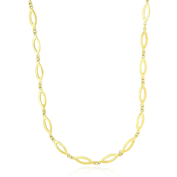 14K Yellow Gold Necklace with Marquis and Small Ring Links