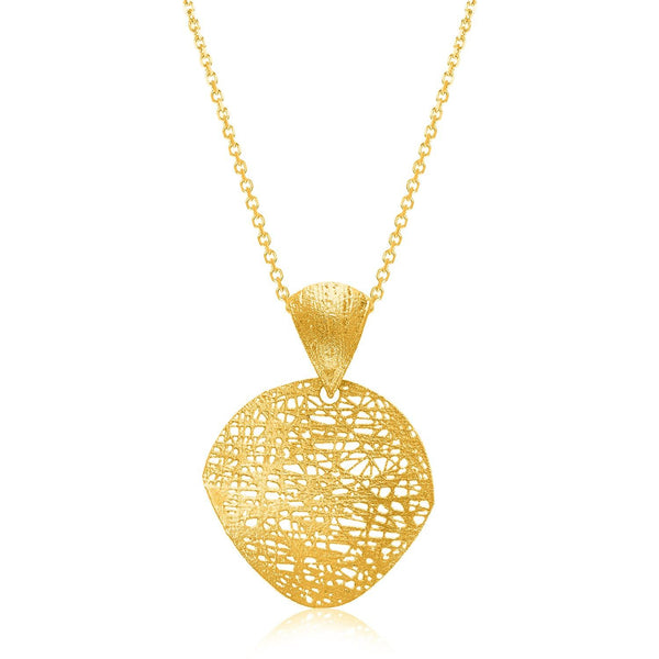 14K Yellow Gold Lace Design Leaf Shape Pendant