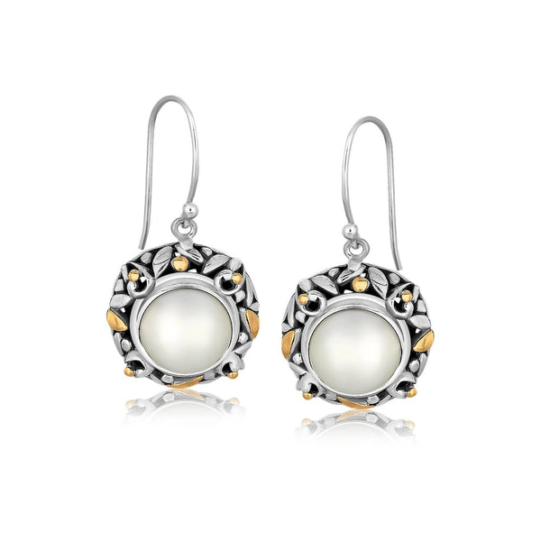18K Yellow Gold and Sterling Silver Pearl Drop Earrings with Leaf Ornaments