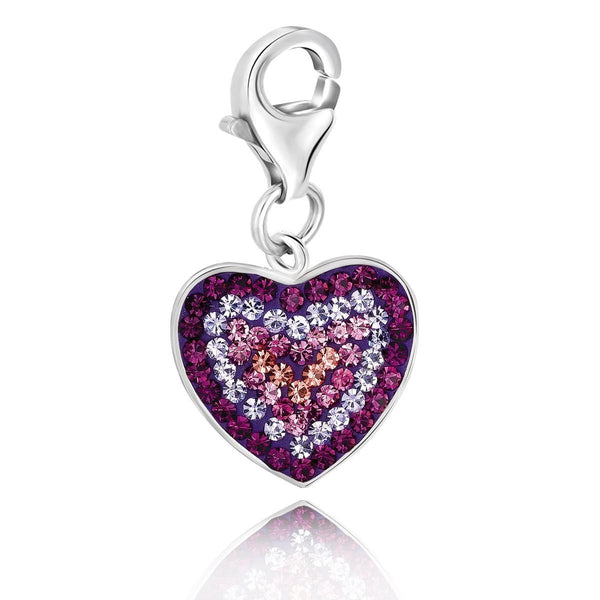 Sterling Silver Heart Charm with Purple, Peach, and Lavender Tone Crystals