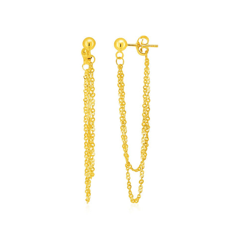 Hanging Chain Post Earrings in 14k Yellow Gold