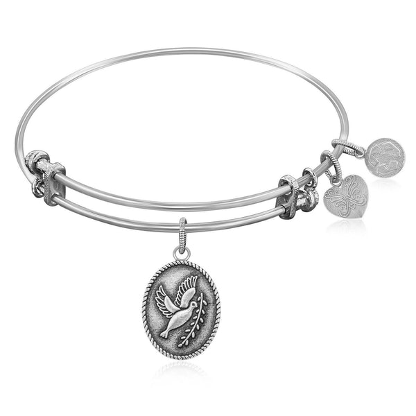 Expandable Bangle in White Tone Brass with Peace Symbol