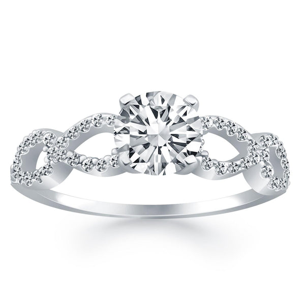 14K White Gold Double Infinity Diamond Engagement Ring