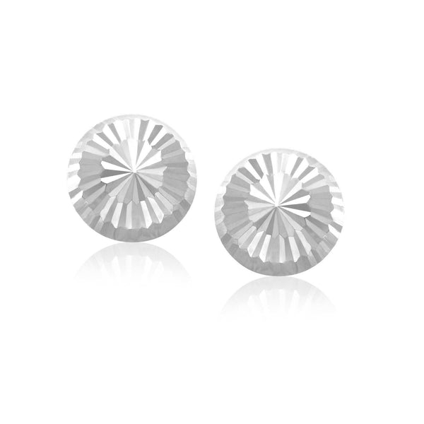 14K White Gold Diamond Cut Flat Design Stud Earrings