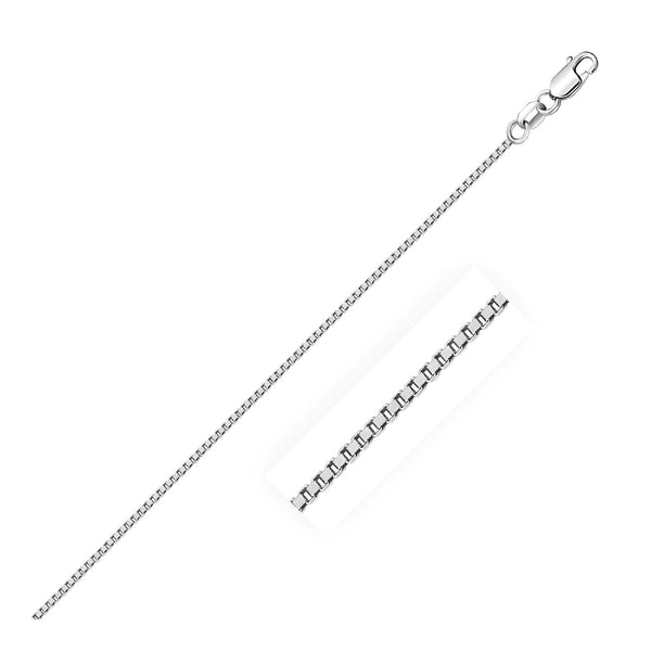 1.0mm 14K White Gold Classic Box Chain