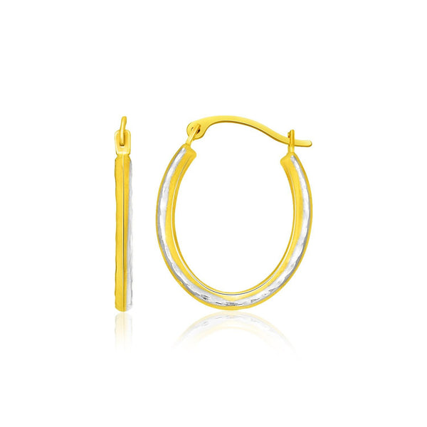 14K Two-Tone Gold Oval Shape Hoop Earrings