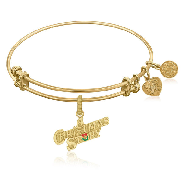 Expandable Bangle in Yellow Tone Brass with A Christmas Story Symbol