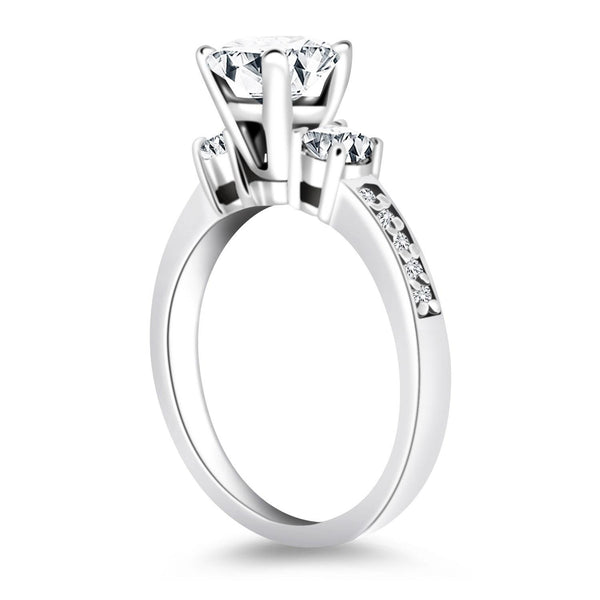 14K White Gold Three Stone Engagement Ring with Diamond Band