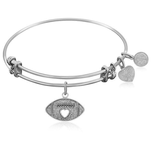 Expandable Bangle in White Tone Brass with Football Symbol