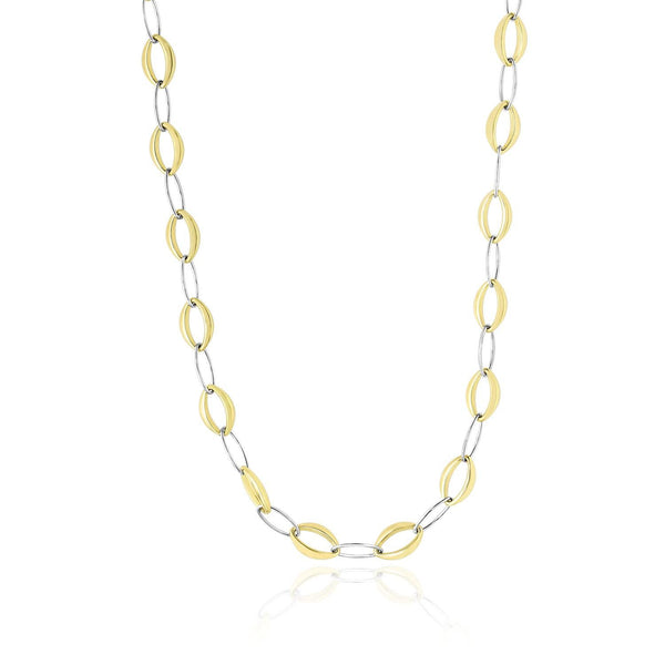 14K Two-Tone Gold Chain Necklace with Graduated and Thin Oval Links