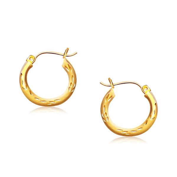 14K Yellow Gold Fancy Diamond Cut Hoop Earrings (5-8 inch Diameter)