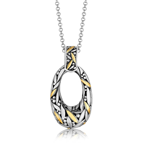 18K Yellow Gold and Sterling Silver Open Oval Marquise Decorated Pendant