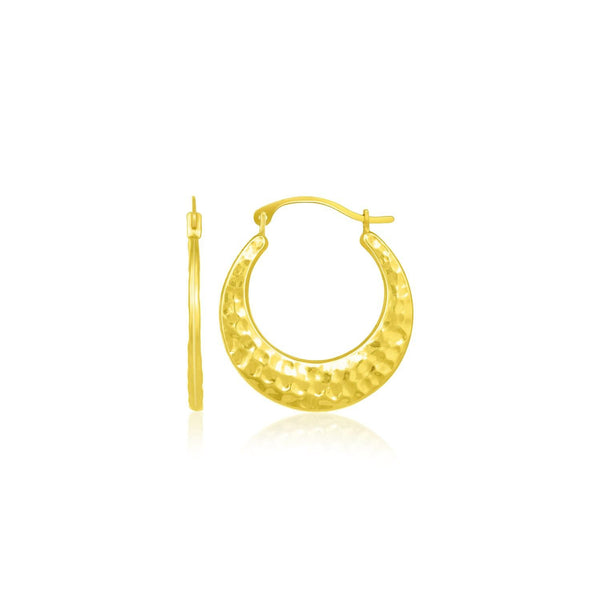 10 Yellow Gold Graduated Textured Hoop Earrings