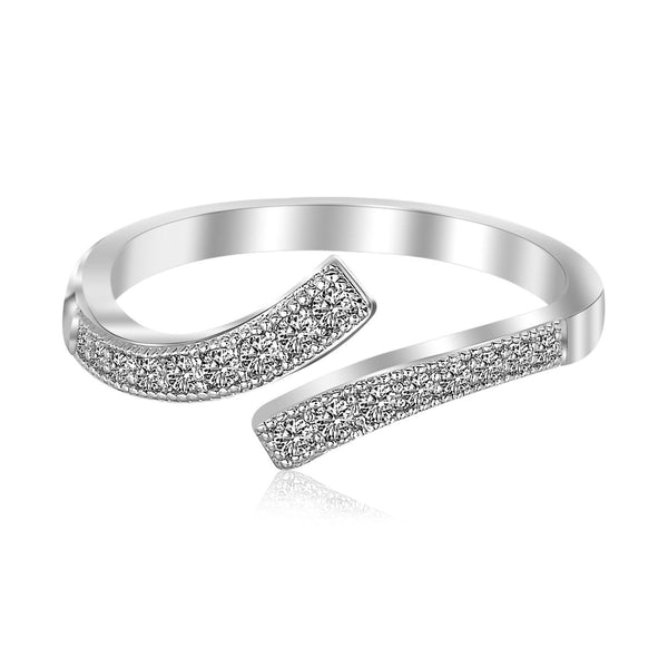 Sterling Silver Rhodium Plated White Cubic Zirconia Overlap Toe Ring