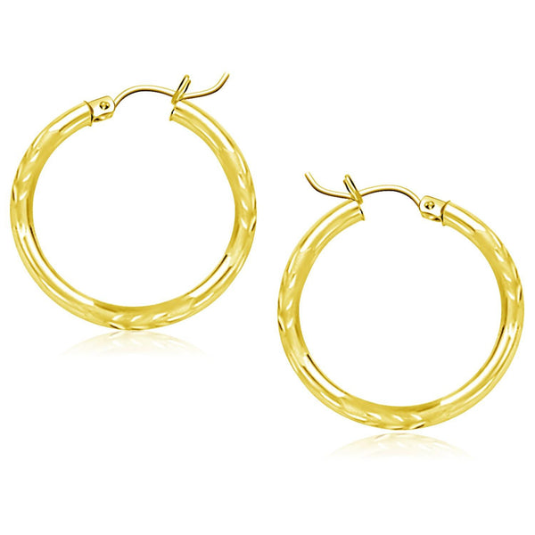 14K Yellow Gold Diamond Cut Hoop Earrings (25mm)
