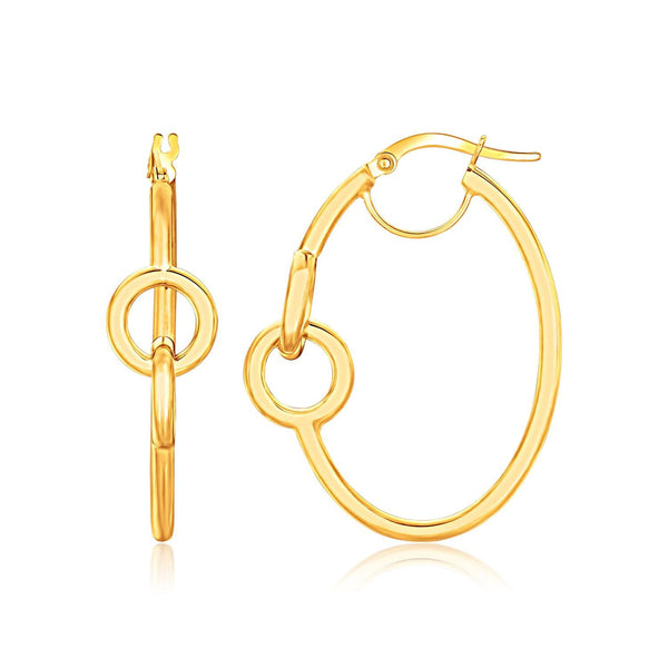 14K Yellow Gold Oval Hoop Earrings with Small Circle Detailing