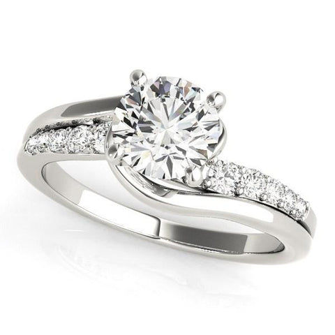 14k White Gold Bypass Style Round Diamond Ring (1 1/4 cttw)