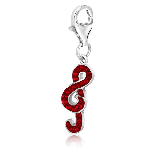 Sterling Silver Red Tone Crystal Studded Treble Clef Charm