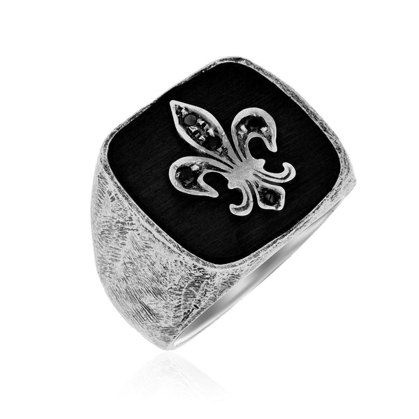 Sterling Silver Black Spinel Fleur De Lis Style Men's Ring