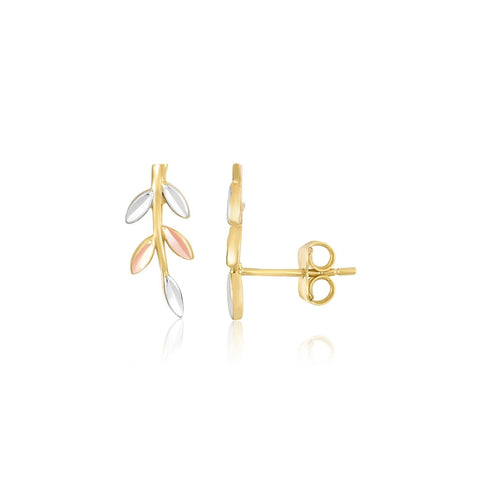 14k Tri-Color Gold Sprig Climber Style Stud Earrings