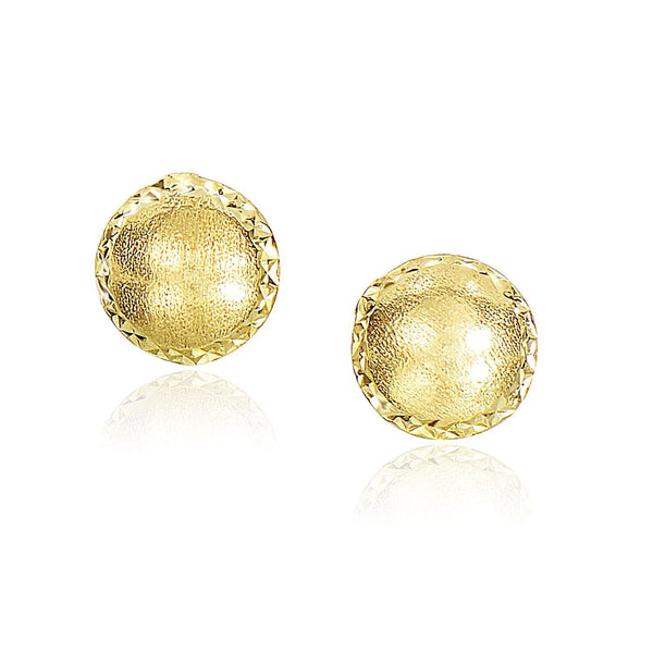 14K Yellow Gold Diamond Cut Edge and Satin Textured Earrings