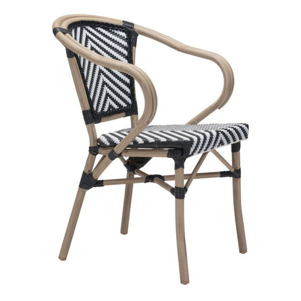 PARIS DINING ARM CHAIR BLACK&WHITE