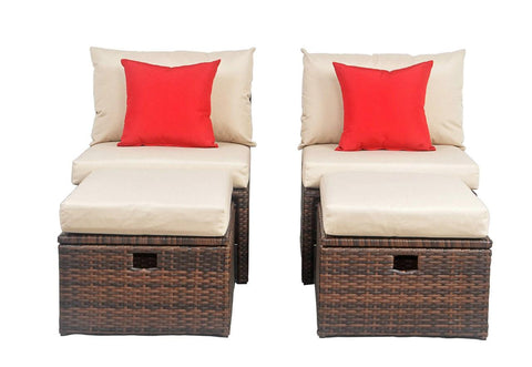 TELFORD RATTAN OUTDOOR SETTE AND STORAGE OTTOMAN WITH RED ACCENT PILLOWS
