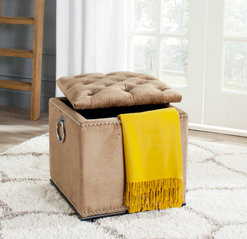 Arturo Storage Ottoman - With Silver Nail Heads