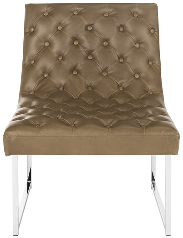 Hadley Leather Tufted Accent Chair