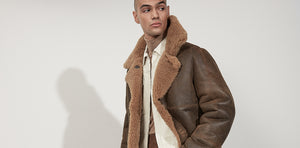 HISO 2020 Black Label Leather and Shearling Brown Coat. No longer Available