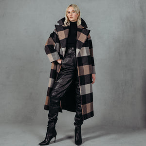 "CHARCOAL CAMEL PLAID TC34. Wool. ""Inspired to be the favourite cold-weather go-to this elongated plaid wool coat is fashioned for unbeatable warmth and relaxed style. 47"" long. Front button closure, peaked lapels. Front welt pockets. Lined"""