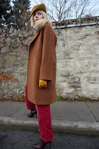 Women's Wool Coat in Brown with Fur Collar. HISO 2019 Collection. No Longer Available