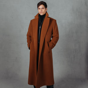 Cognac. Wool. Single Breasted, Notch Collar with Welt Pockets 50 inch length