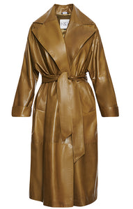 An investment piece . This signature olive leather kimono wrap style coat features a large notch collar.  Wear it belted or unbelted for a stunning, timeless look.