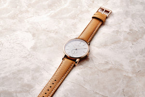 Champlain Watches Rose Gold White Tan Leather Watch