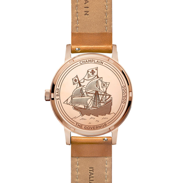 Rose Gold/Black - Tan Governor Watch by Champlain