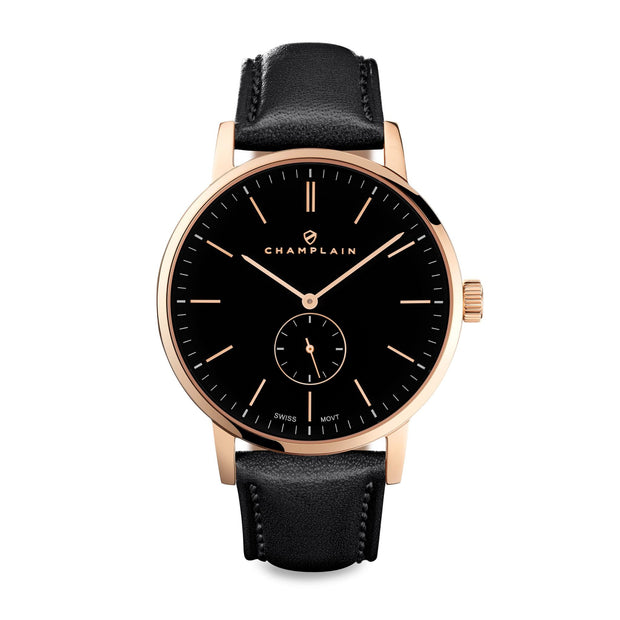 Rose Gold/Black - Black Governor Watch by Champlain