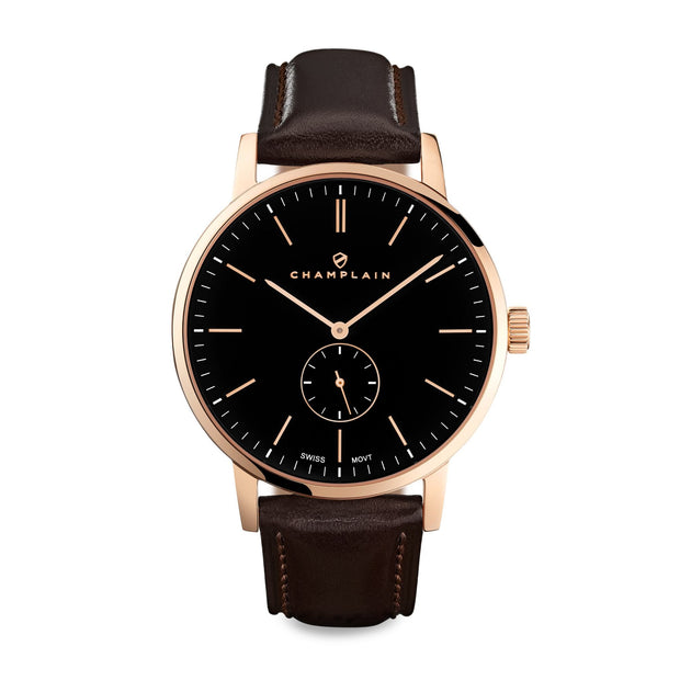 Rose Gold/Black - Brown Governor Watch by Champlain